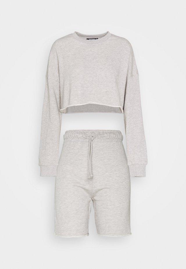 CROP CYCLING SHORT SET - Sweatshirt - grey marl