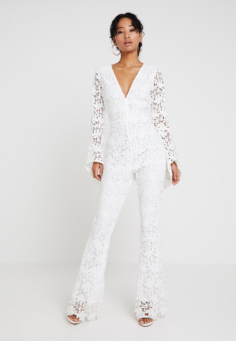 Missguided - LONG SLEEVED V NECKLINE - Jumpsuit - white