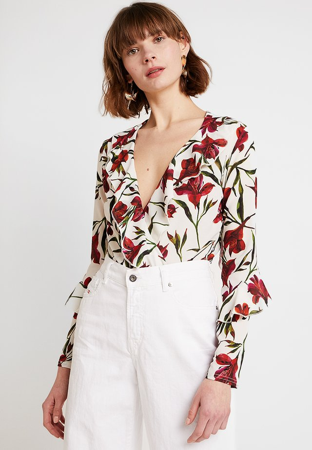 FLORAL FRILL WRAP OVER BODYSUIT - Blouse - white