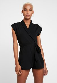 Missguided - LAPEL TIE DETAIL - Tuta jumpsuit - black - 0