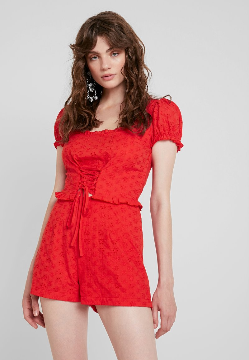 Missguided - BROIDERIE MILK MIAD PLAYSUIT - Jumpsuit - red