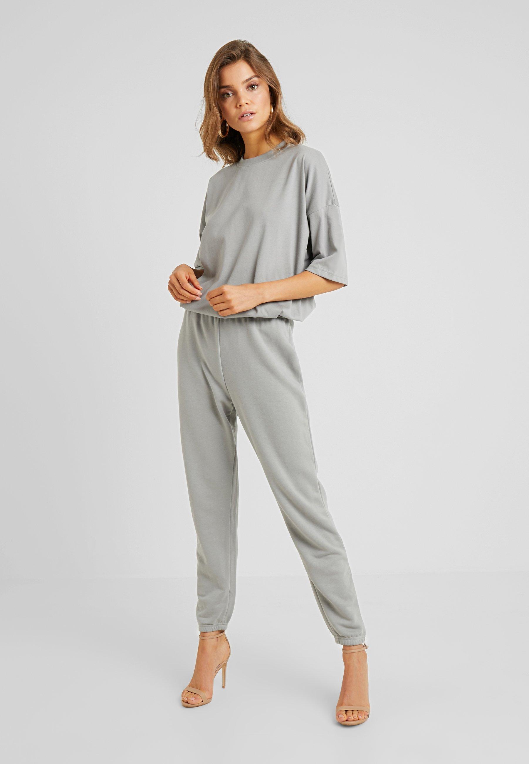 Missguided TEE AND JOGGER SET - Pantalon de survêtement grey