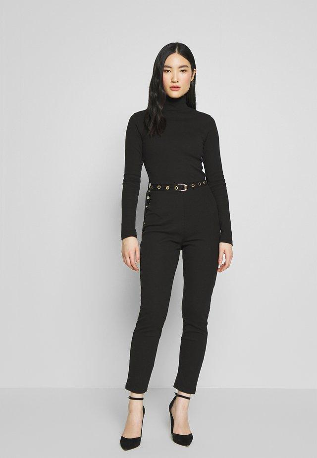 HIGH NECK BELTED LONG SLEEVE - Jumpsuit - black