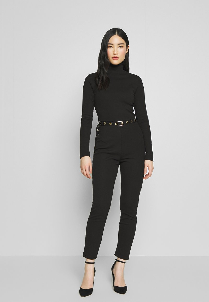Missguided - HIGH NECK BELTED LONG SLEEVE - Jumpsuit - black