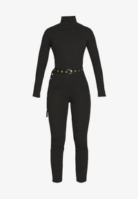 Missguided - HIGH NECK BELTED LONG SLEEVE - Mono - black