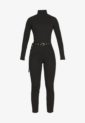 HIGH NECK BELTED LONG SLEEVE - Mono - black