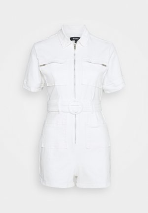 SELF BELTED PLAYSUIT - Overal - white