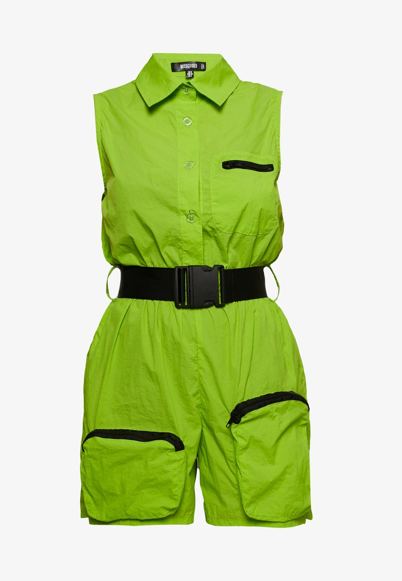 Missguided - FESTIVAL EXCLUSIVE SHELL SEATBELT PLAYSUIT - Jumpsuit - neon green