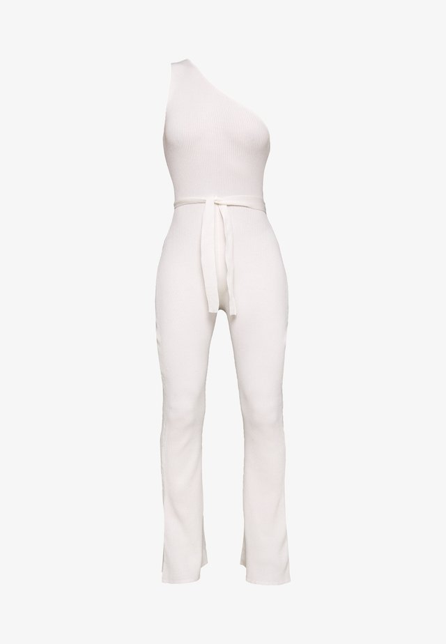 ONE SHOULDER SELF BELT - Jumpsuit - white
