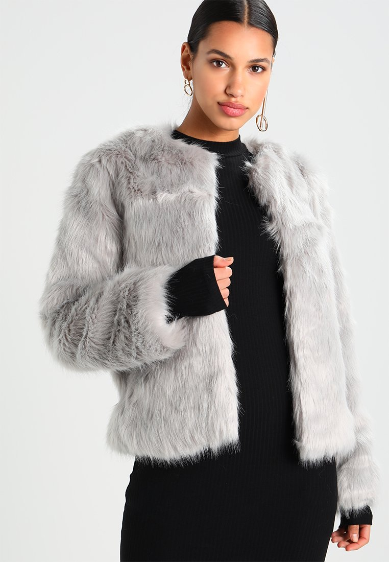 Missguided - COLLARLESS FAUX COAT - Wintermantel - grey
