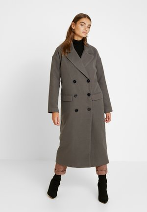 OVERSIZED DOUBLE BREASTED MIDAXI COAT - Classic coat - charcoal