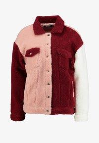 Missguided - BORG COLOUR BLOCK OVERSIZED JACKET - Zimní bunda - burgundy - 4