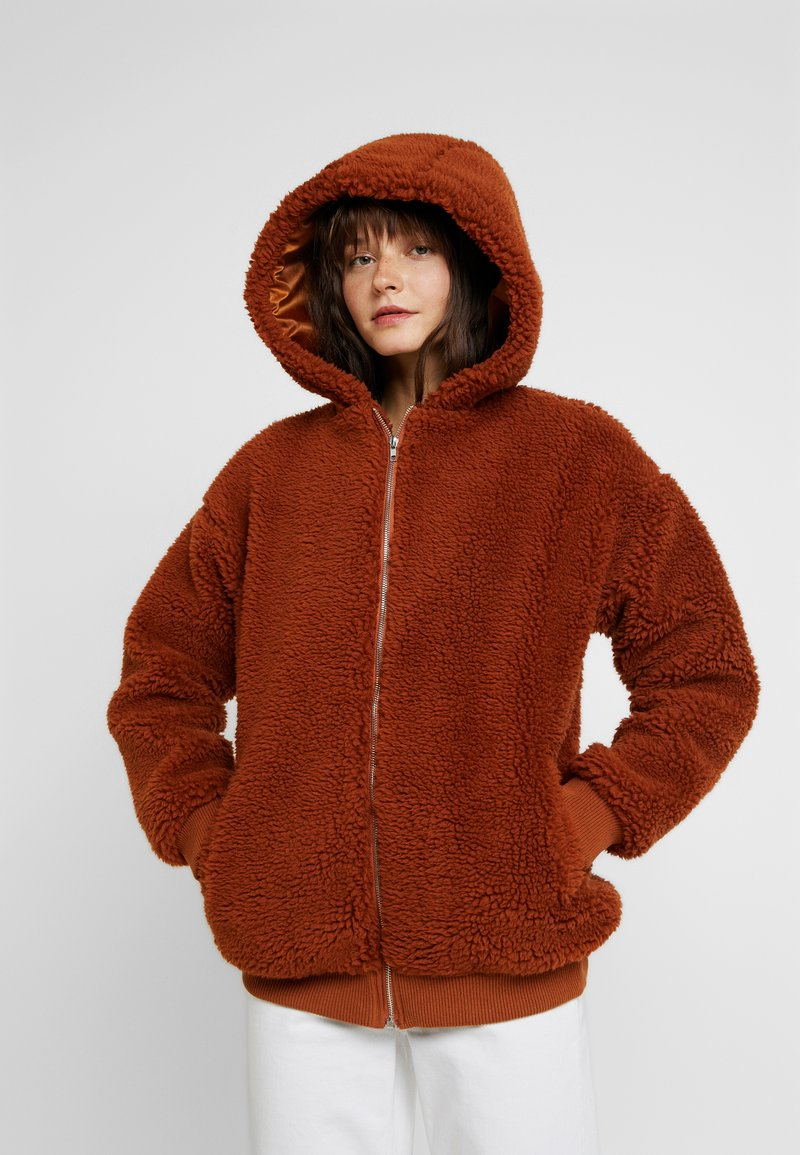 Missguided - HOODED ZIP THROUGH COAY - Mantel - rust