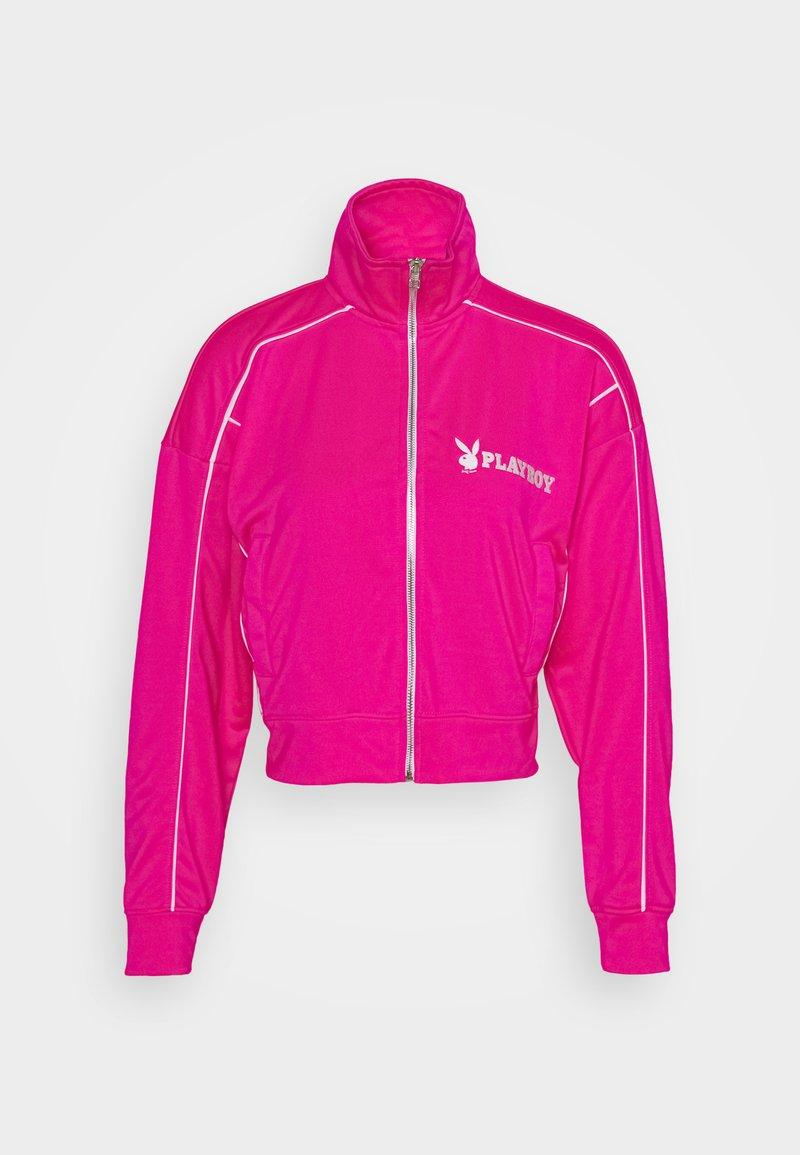 Missguided - PLAYBOY ZIP THROUGH CROP JACKET - Treningsjakke - pink