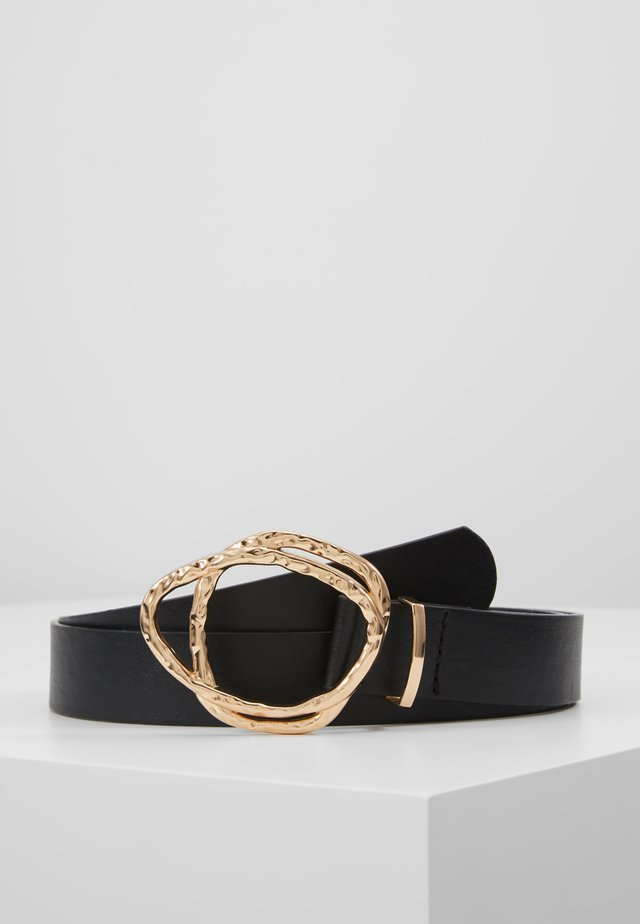 HAMMERED ABSTRACT DOUBLE RING BELT - Pasek - black