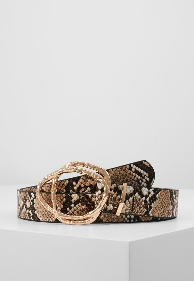 HAMMERED ABSTRACT DOUBLE RING BELT - Skärp - nude