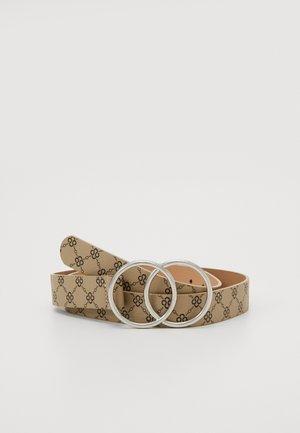 PRINTED DETAIL DOUBLE RING BELT - Belt - cream