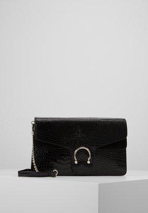CROC DETAIL SHOULDER BAG - Handbag - black