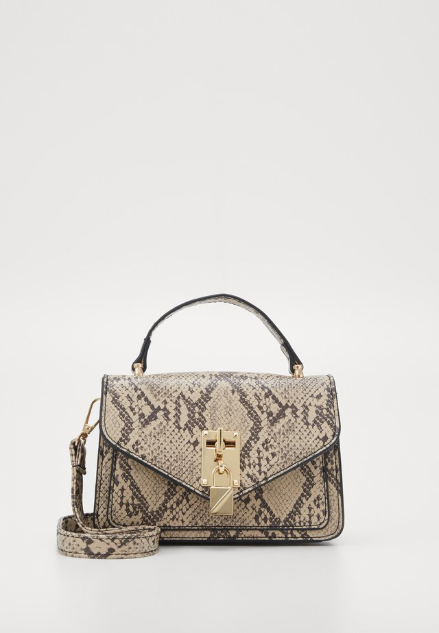 PADLOCK DETAIL SNAKE CROSS BODY BAG - Schoudertas - brown