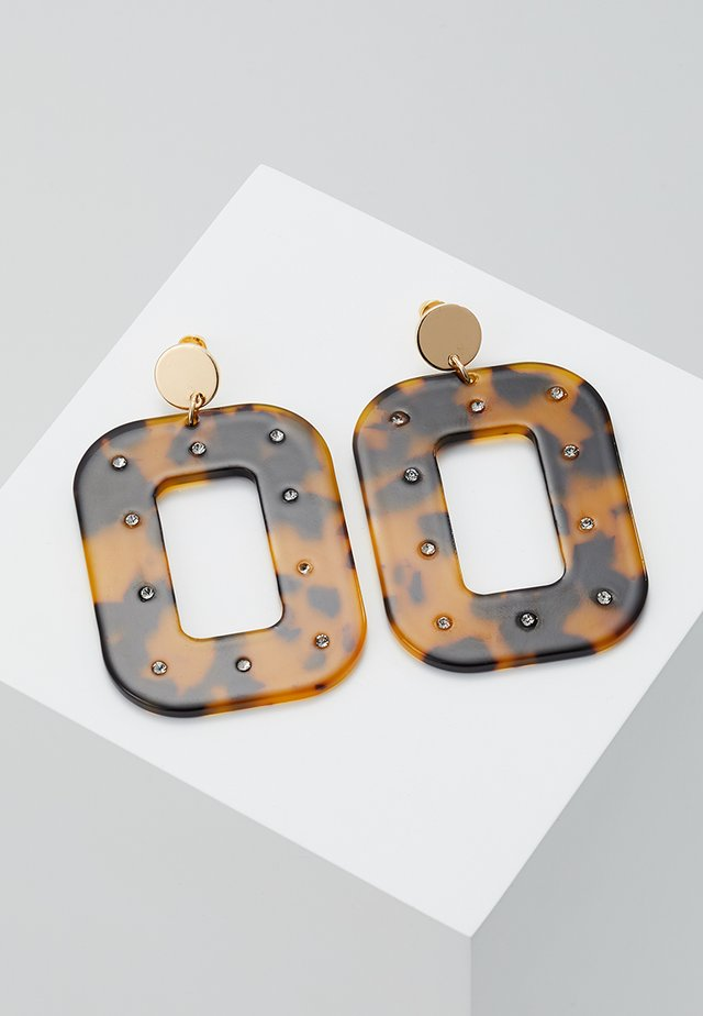 TORT RECTANGLE DROP - Earrings - brown