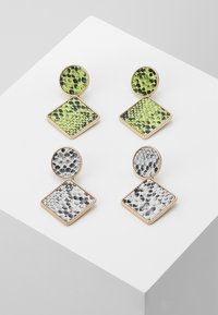 Missguided - SNAKE INLAY DROP 2 PACK - Boucles d'oreilles - green/grey - 0