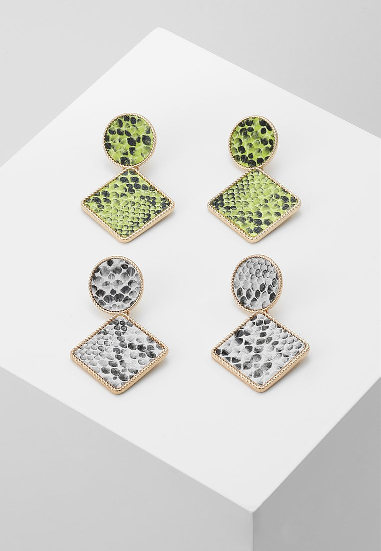 Missguided - SNAKE INLAY DROP 2 PACK - Boucles d'oreilles - green/grey