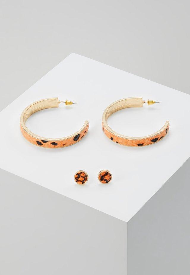 INLAY HOOP AND STUD - Earrings - orange/black