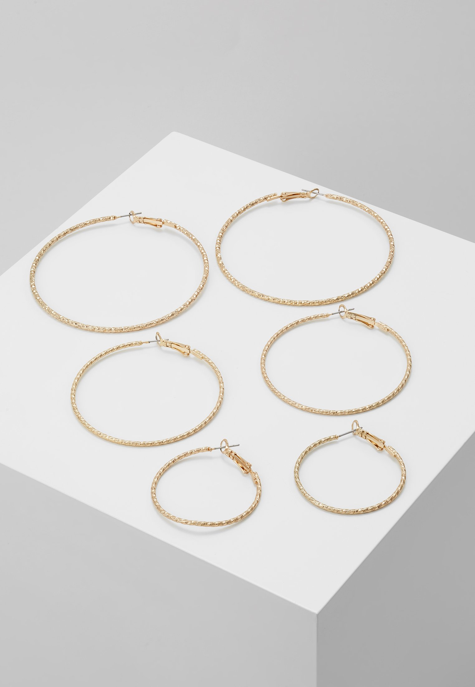 PackBoucles coloured D'oreilles 3 Textured Gold Hoop Missguided 76Yfybg