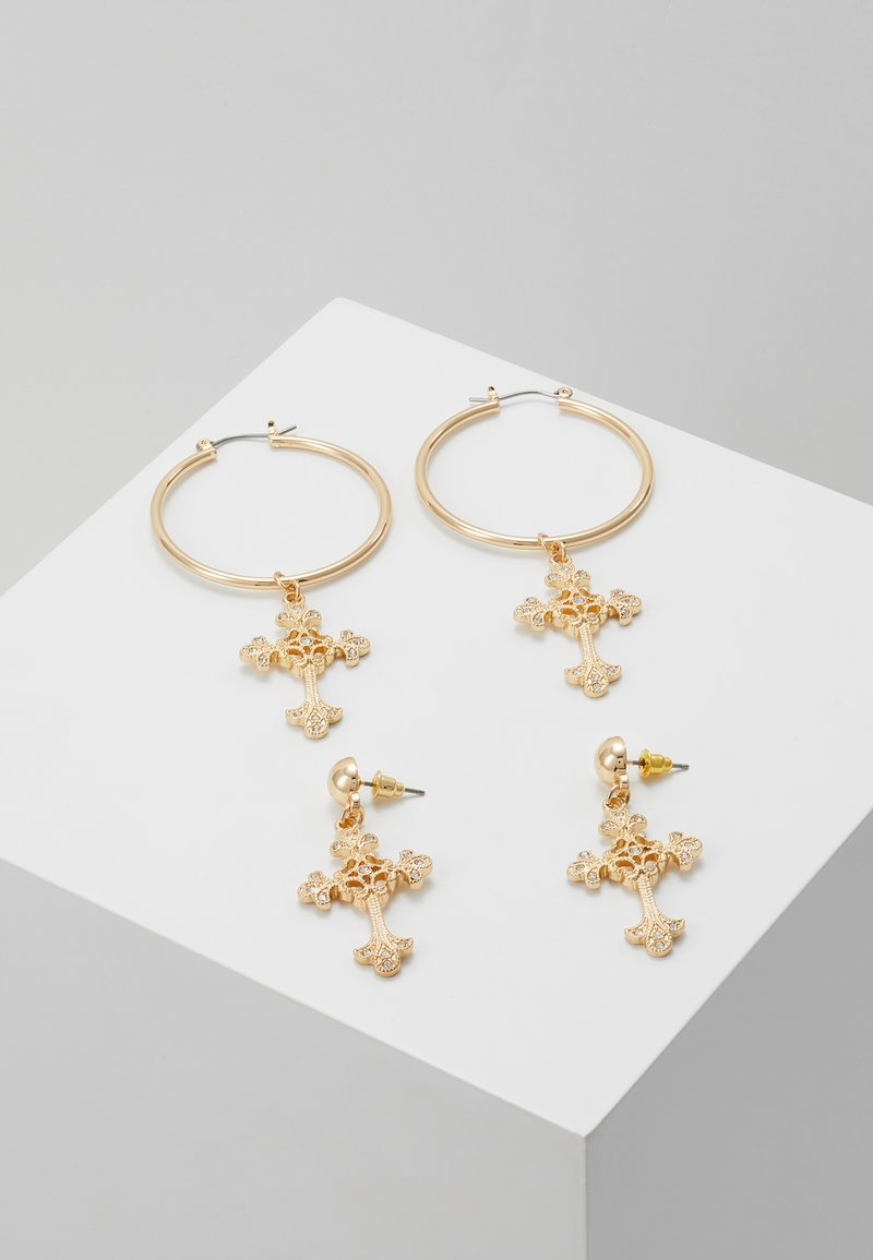 Missguided - ORNATE CROSS DROP HOOPS 2 PACK - Earrings - gold-coloured