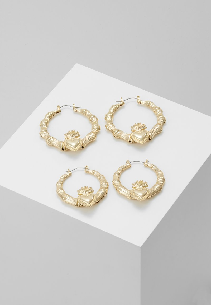 Missguided - STATEMENT HEART HOOPS 2 PACK - Pendientes - gold-coloured