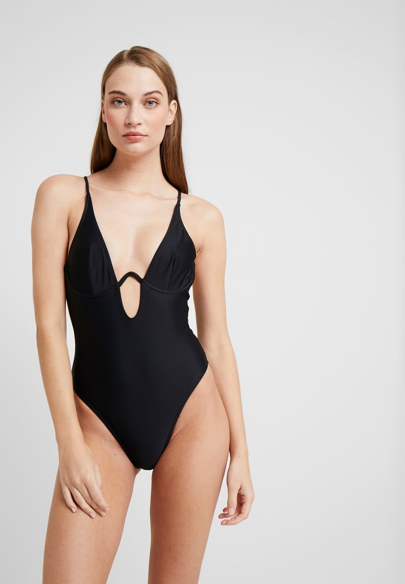 Missguided - PLUNGE CROSS BACK SWIMSUIT - Plavky - black