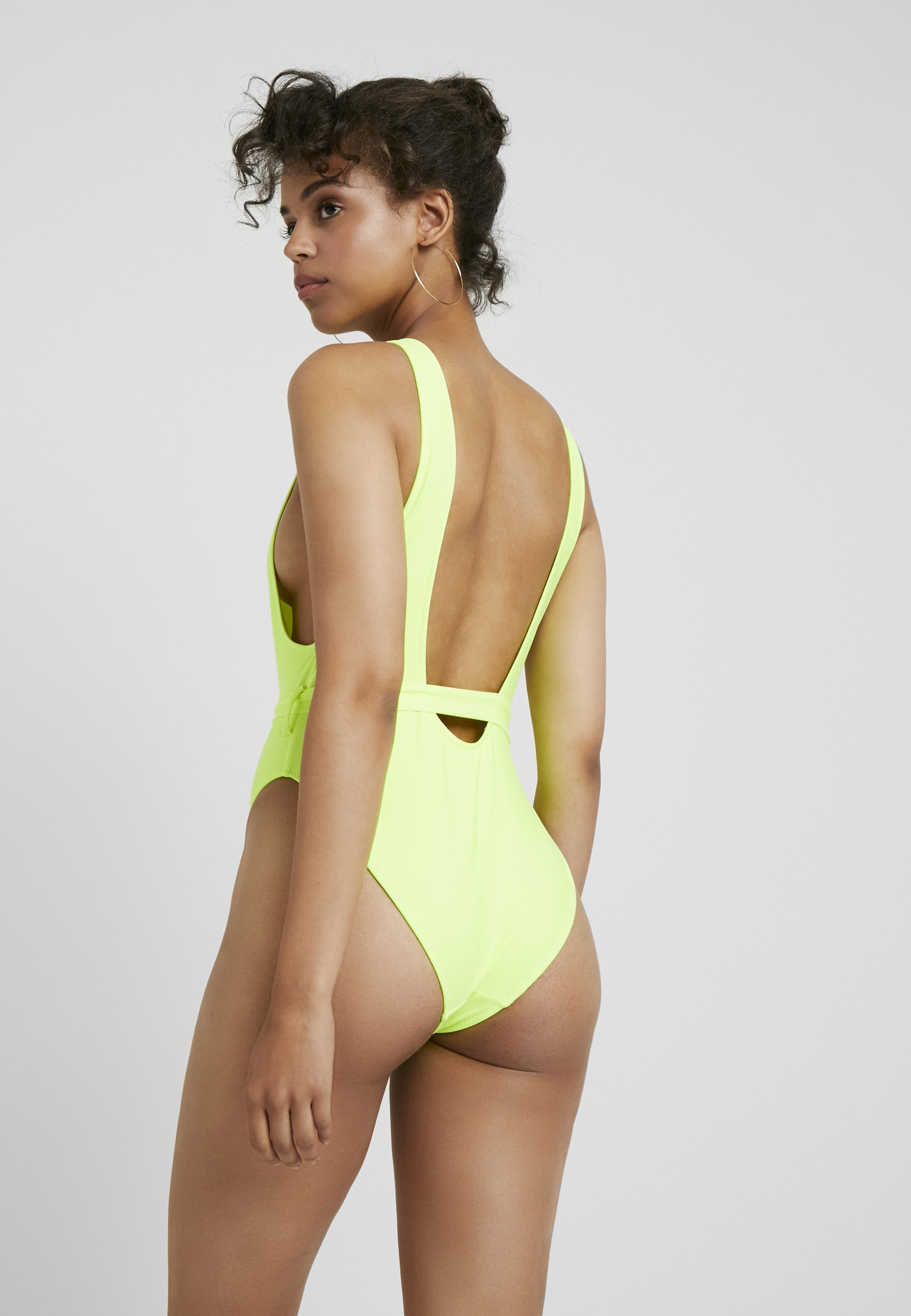 Bain Lime Leg Playboy Plunge Missguided SwimsuitMaillot Buckle High De 0Nm8nw