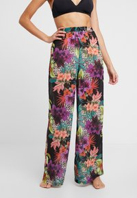 Missguided - TROPICAL FLORAL TROUSER - Strandaccessories - black - 0