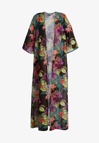 Missguided - TROPICAL FLORAL KIMONO COVER UP - Strandaccessories - black - 4