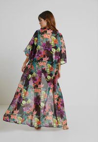 Missguided - TROPICAL FLORAL KIMONO COVER UP - Strandaccessories - black - 2