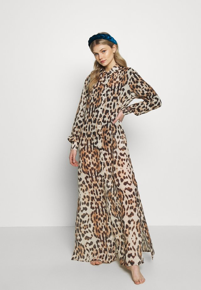 LEOPARD PRINT MAXI LENGTH BEACH SHIRT - Beach accessory - brown