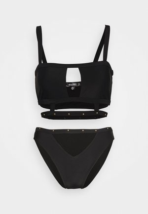 SQUARE NECK STUD CAGED DETAIL TOP AND V FRONT STUD STRAP SET - Bikini - black