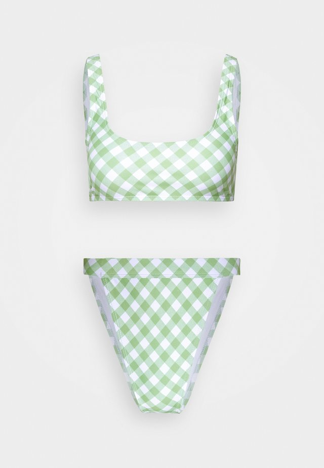 GINGHAM SCOOP NECK TOP AND BOTTOMS SET - Bikini - green