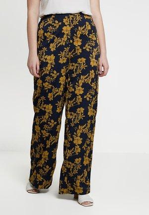 CURVE FLORAL PRINT WIDE LEG TROUSERS - Spodnie materiałowe - blue