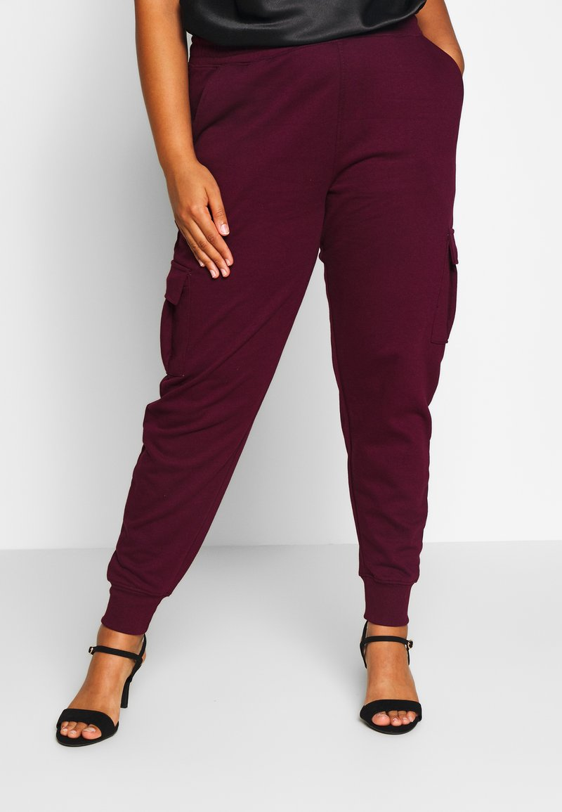Missguided Plus - UTILITY POCKET HIGH WAISTED - Pantalon de survêtement - wine