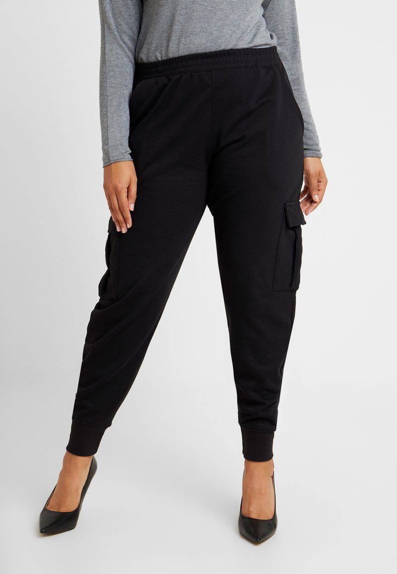Missguided Plus - UTILITY POCKET HIGH WAISTED - Tracksuit bottoms - black