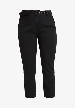 SELF BELT TROUSERS - Spodnie materiałowe - black