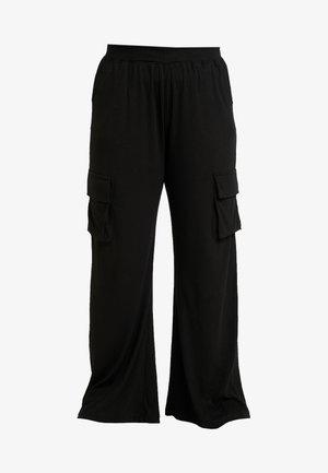 COMBAT WIDE LEG TROUSERS - Trousers - black