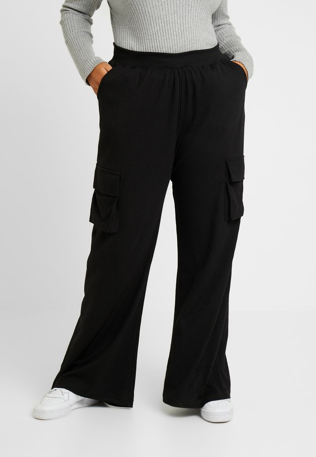 COMBAT WIDE LEG TROUSERS - Trousers - black