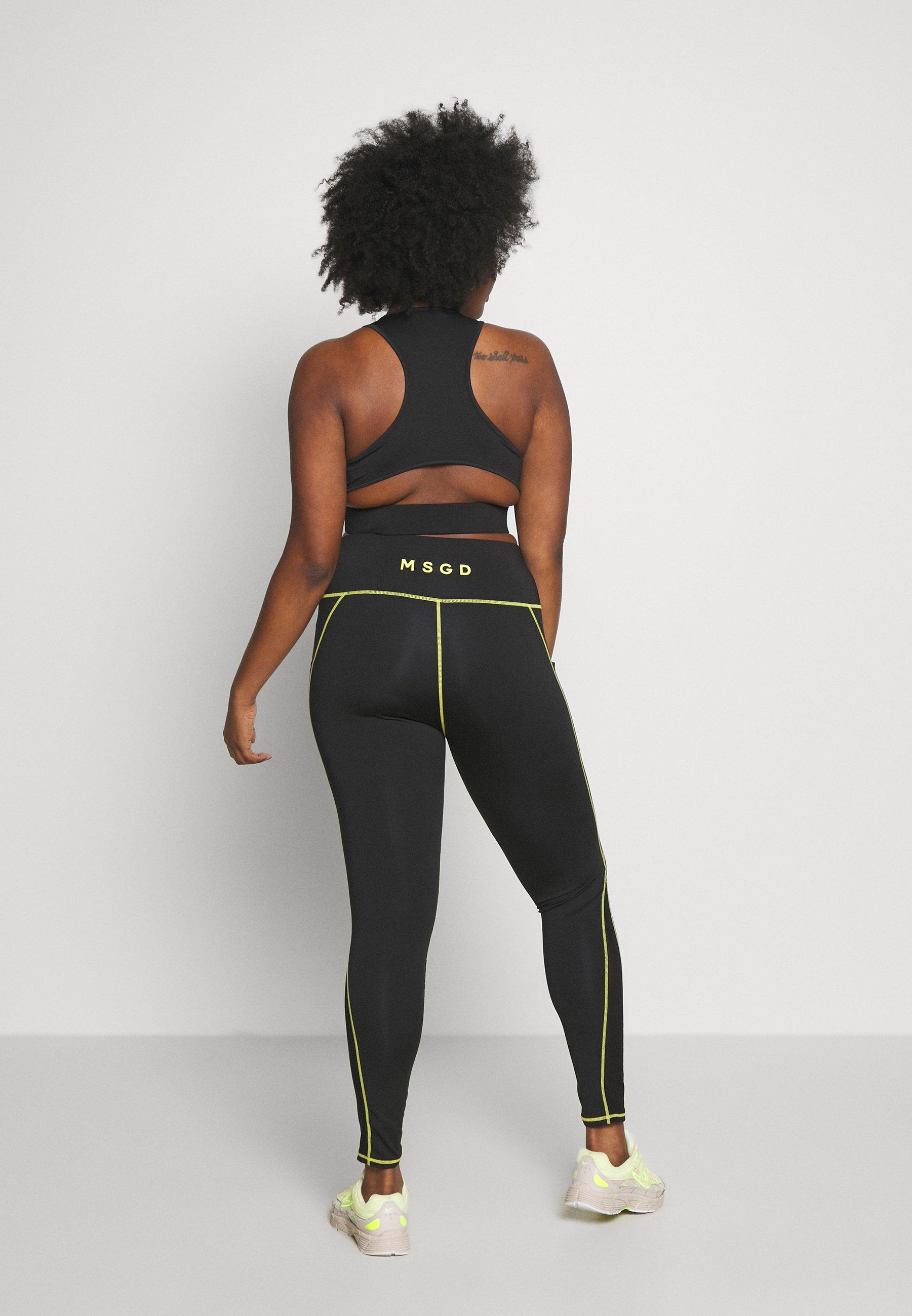 Missguided Plus Active Contrast Seam Two Set - Leggings Black