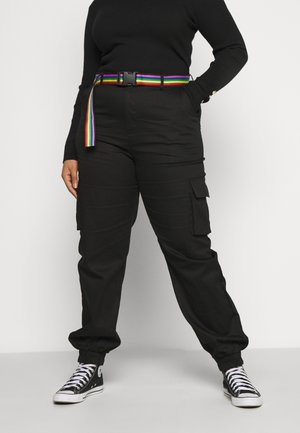 PRIDE RAINBOW BELTED CARGO TROUSER - Cargo trousers - black