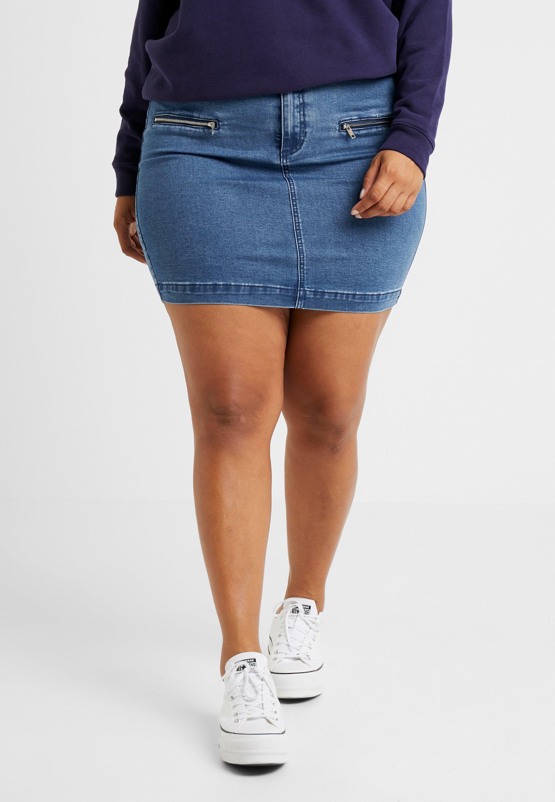 Jean Missguided Blue Zip SkirtJupe En Pocket Mini Plus gYf7yb6