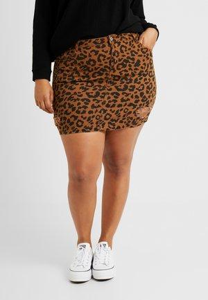 LEOPARD PRINT NINI SKIRT - Denimová sukně - brown