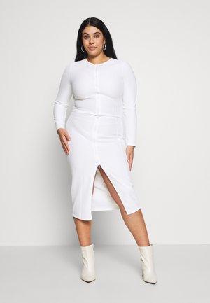 THROUGH TOP AND MIDI SKIRT  - Pencil skirt - white