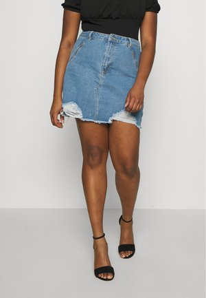 RIPPED SKIRT ZIP POCKETS - Jupe en jean - blue